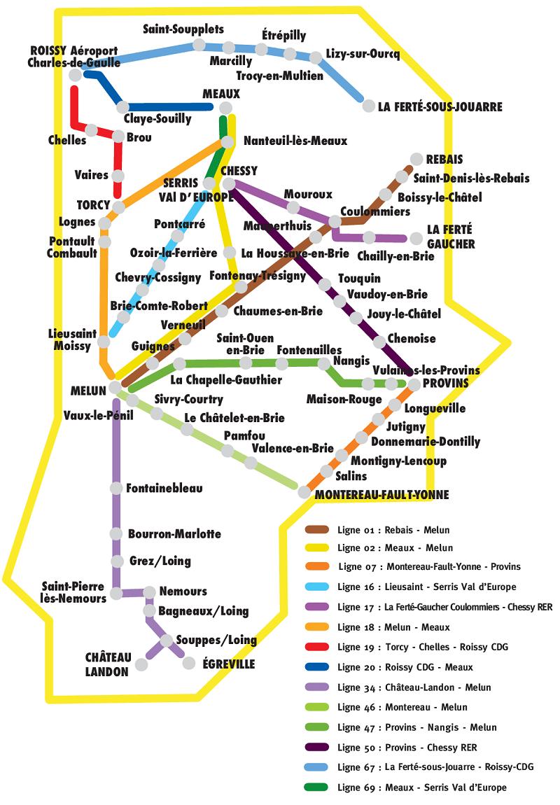 Plan du réseau Seine-et-Marne express
