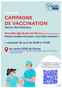 campagne de vaccination au centre de Disney pour le 30 avril 2021