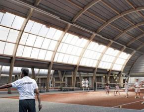 Perspective d'architecture d'un terrain de tennis