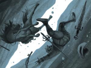 Illustration représentant la chute d'un homme et d'un cheval dans une avalanche