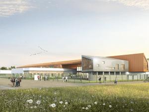 Vue en perspective du projet de construction du collège de Coubert