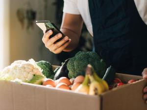 Panier de fruits et légumes achetés en ligne